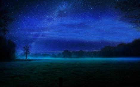 night-stars-and-fields-mist-wallpaper