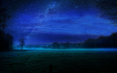 night-stars-and-fields-mist-wallpaper